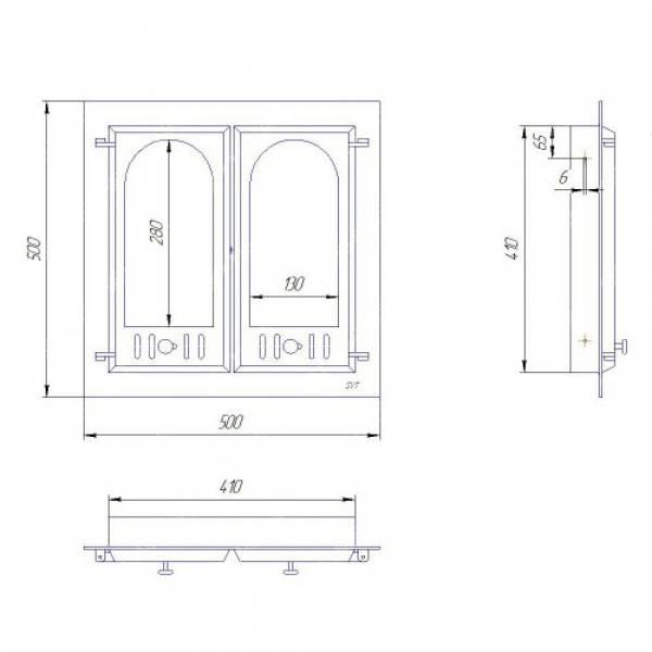 чугунная дверца для камина со стеклом